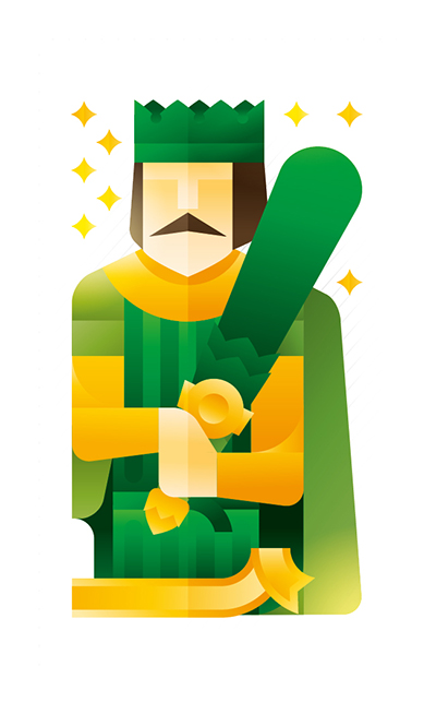green king holding a club, illustration by Francesco Faggiano illustrator
