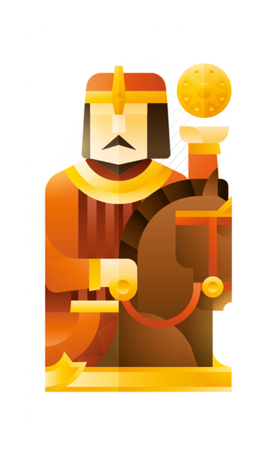 yellow knight with a horse holding a gold coin, illustration by Francesco Faggiano illustrator
