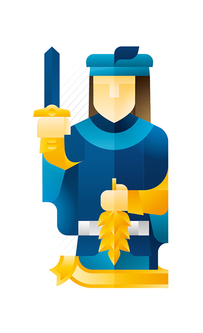blue jack holding a trophy and a gold sprig, illustration by Francesco Faggiano illustrator