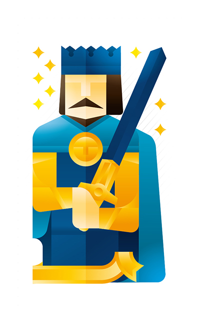 blue king holding a sword, illustration by Francesco Faggiano illustrator