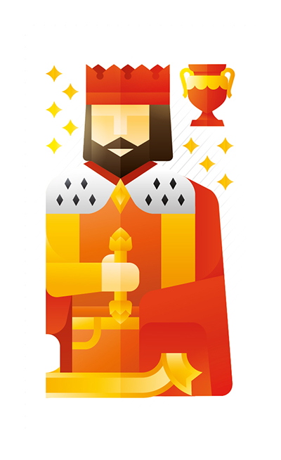 red king with a trophy, illustration by Francesco Faggiano illustrator