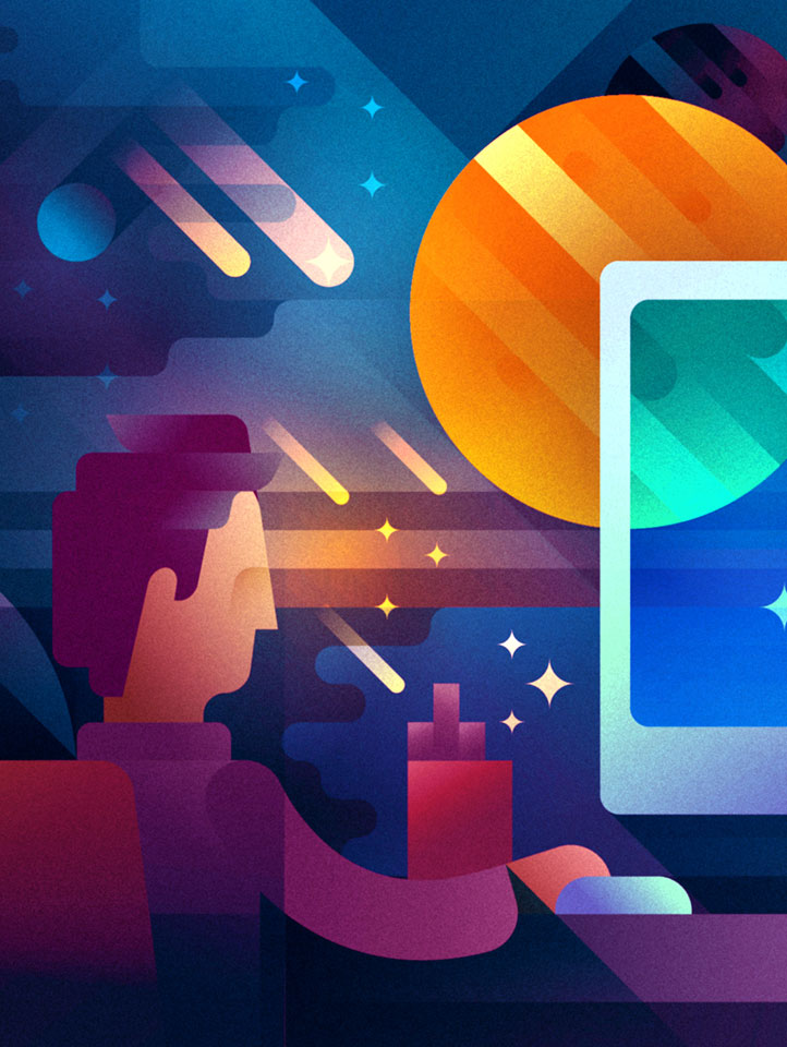 A violet haired guy working on a computer in a dark room with space background, illustration by Francesco Faggiano illustrator