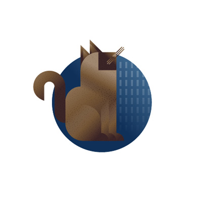 Siamese thai cat with blue background icon, illustration by Francesco Faggiano illustrator