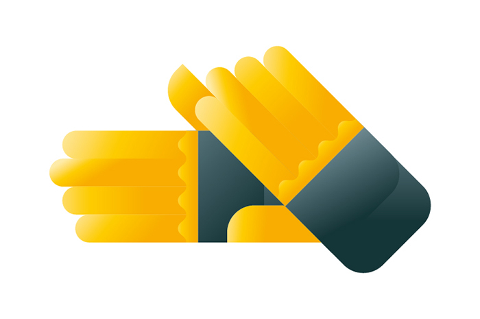 A pair of yellow and grey garden gloves, illustration by Francesco Faggiano illustrator