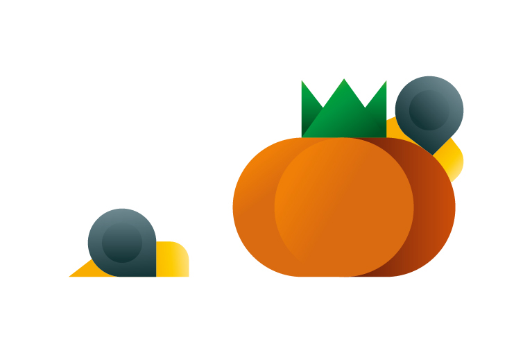 Two snails creeping on a tomato icon, illustration by Francesco Faggiano illustrator