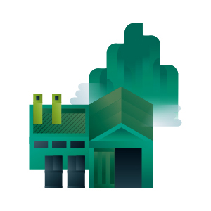 Green factory building with chimneys icon, illustration by Francesco Faggiano illustrator