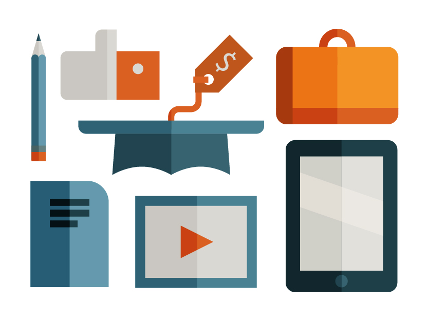 Univeristy icon set of bag, ipad, graduation cap, video and like hand, illustration by Francesco Faggiano illustrator