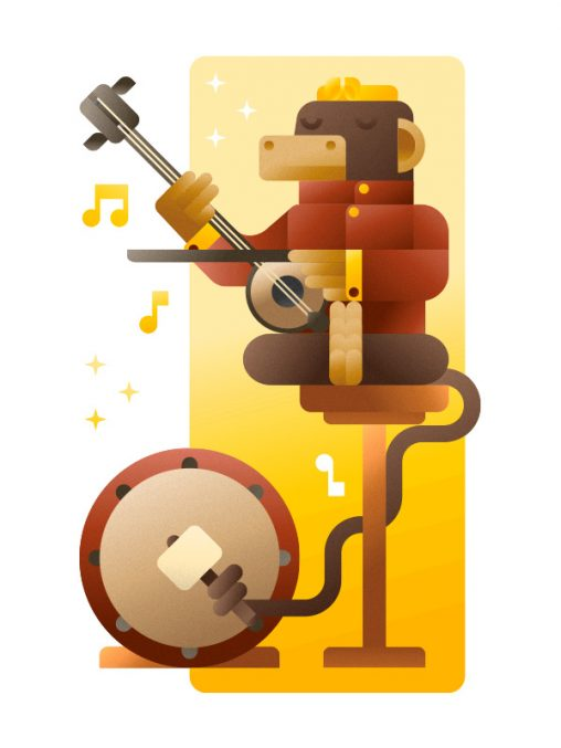 Asian Monkey playing a Chinese violin and a drum, illustration by Francesco Faggiano illustrator