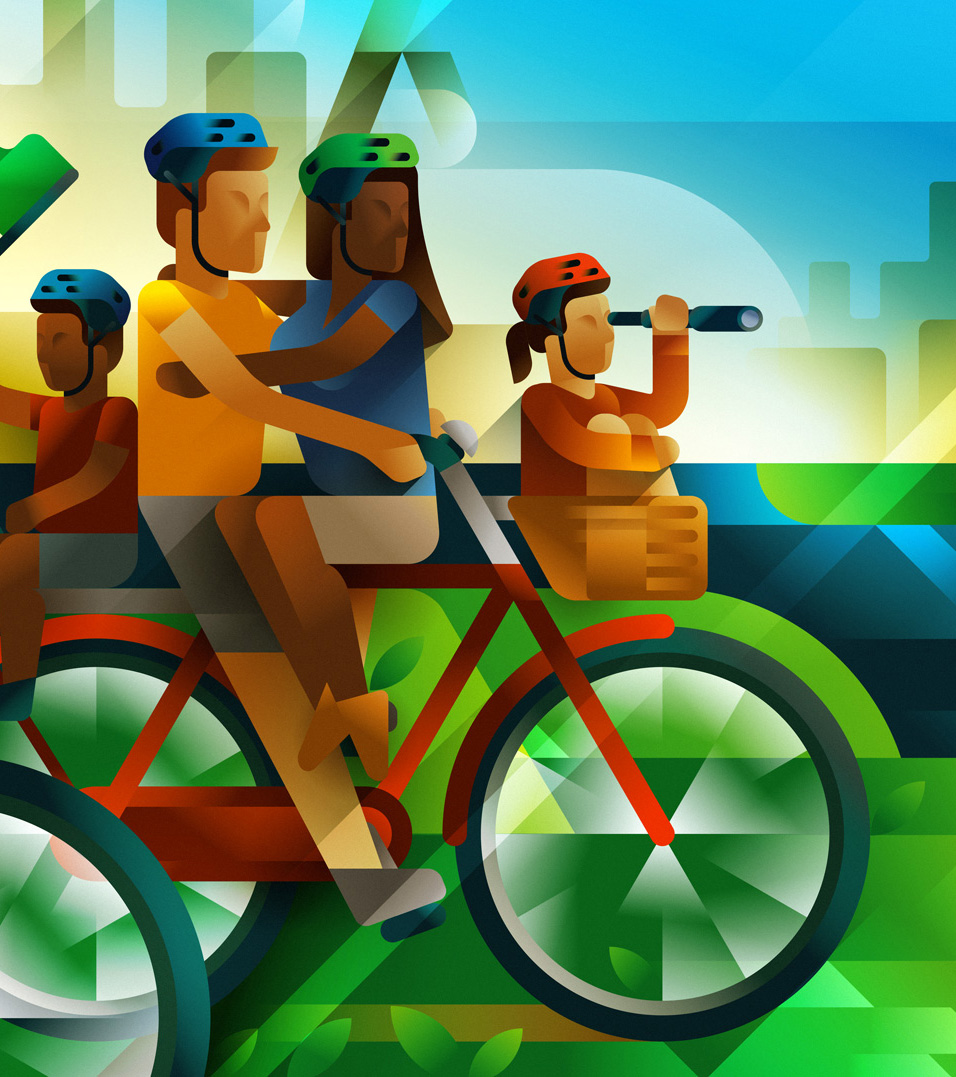 A couple and its kids on a single bike, enjoying the ride with hundreds of people in São Paulo, illustration by Francesco Faggiano illustrator