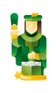 green jack holding a club, illustration by Francesco Faggiano illustrator