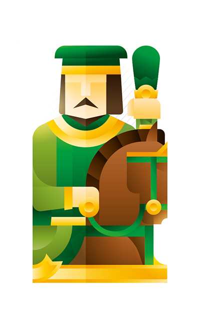 green knight with a horse holding a club, illustration by Francesco Faggiano illustrator