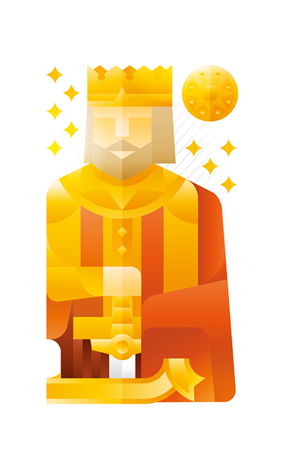 yellow king with a gold coin, illustration by Francesco Faggiano illustrator
