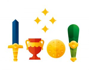 Blue sword, red trophy, gold coin and green club icons, illustration by Francesco Faggiano illustrator