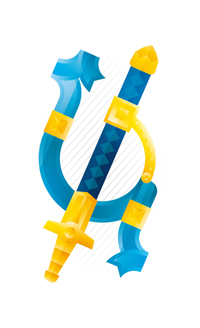 Blue and gold sword, illustration by Francesco Faggiano illustrator