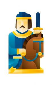 blue knight with a horse holding a sword, illustration by Francesco Faggiano illustrator