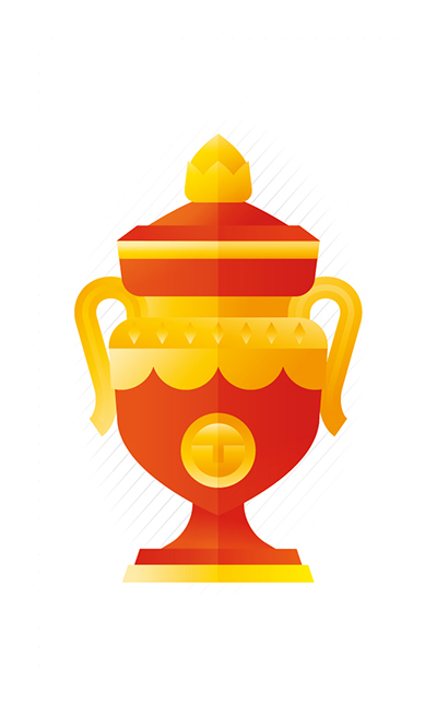 Red and gold trophy, illustration by Francesco Faggiano illustrator