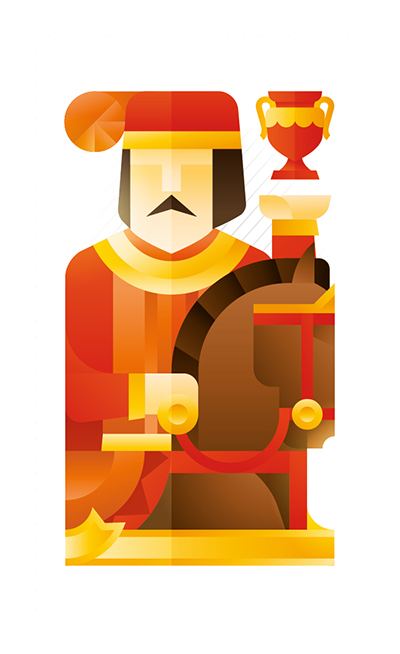 red knight with a horse holding a trophy, illustration by Francesco Faggiano illustrator