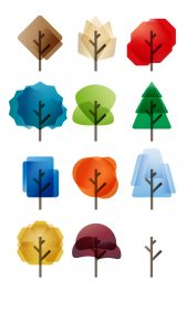 Twelve icons representing trees during all the four seasons of the year, illustration by Francesco Faggiano illustrator