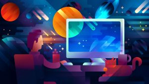 A guy using Lumetri Color tool on Adobe Premiere with a space background with planets and stars, illustration by Francesco Faggiano illustrator