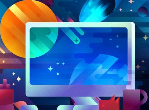 A computer with a space background, illustration by Francesco Faggiano illustrator