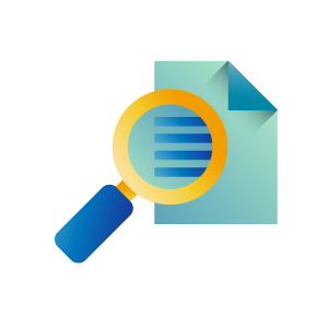 Magnifier on a document icon illustration, illustration by Francesco Faggiano illustrator