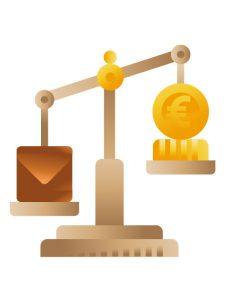 Money balance icon illustration, illustration by Francesco Faggiano illustrator