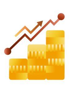 Money increasing statistics icon illustration, illustration by Francesco Faggiano illustrator