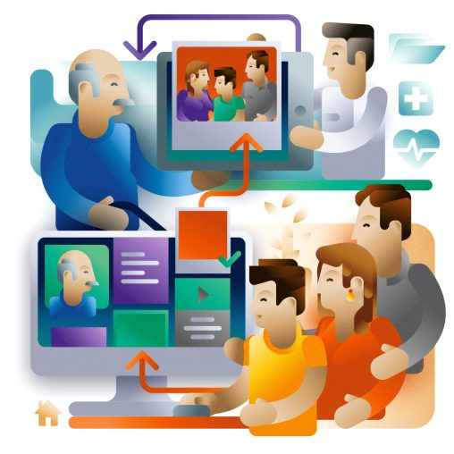 A family sending pictures to grandparent through internet connection, illustration by Francesco Faggiano illustrator
