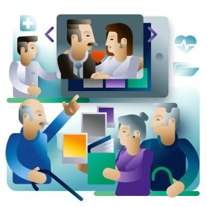 A senior man sharing old pictures on a tablet screen with his friends, illustration by Francesco Faggiano illustrator