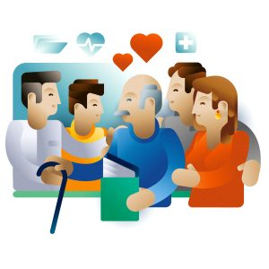 A family with his grandparent and a health care professional hugging, illustration by Francesco Faggiano illustrator