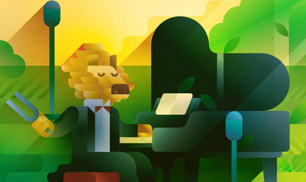 A lion pianist tuning his grand piano in the Savannah at sunset, illustration by Francesco Faggiano illustrator
