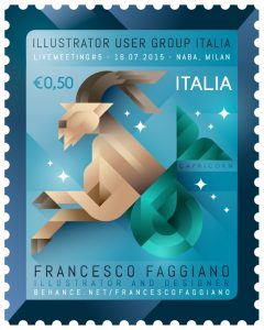 Stamp with a capricorn animal, made for Adobe Illustrator User Group Italia livemeeting n5, illustration by Francesco Faggiano illustrator