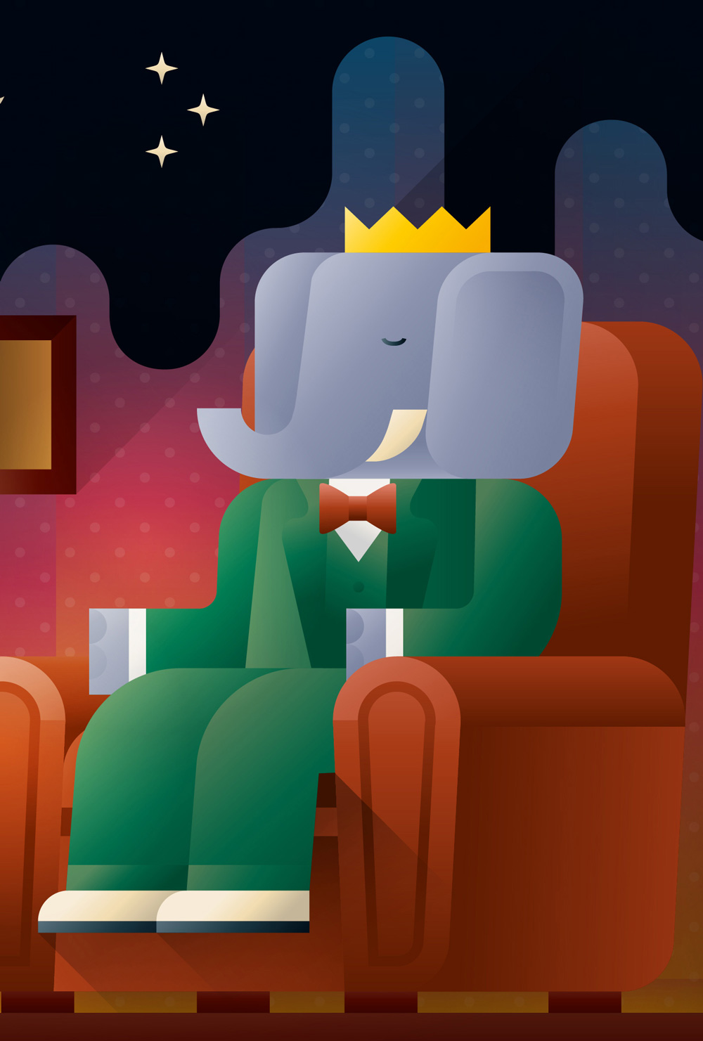 Babar in a green suit sitting on a sofa, art print illustration by Francesco Faggiano illustrator