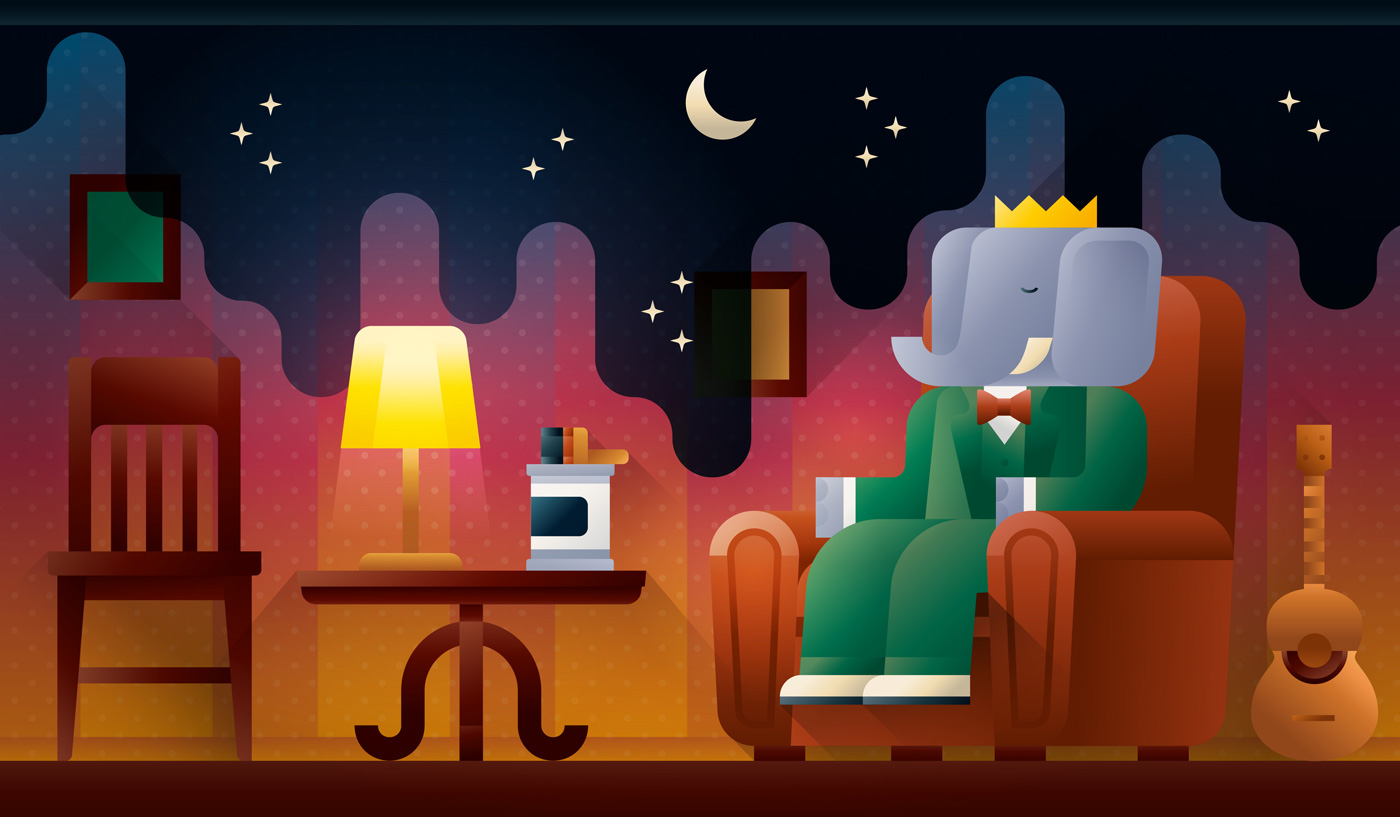 Babar in a green suit sitting on his sofa while the room is turning to night landscape, art print illustration by Francesco Faggiano illustrator