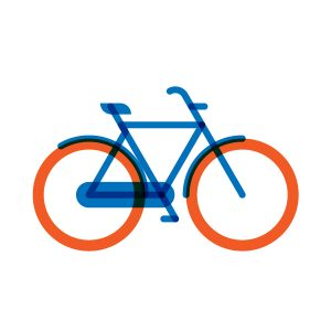 Man city-bike model flat icon, illustration by francesco faggiano illustrator