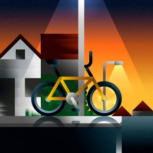 A yellow bmx bike parked on the street of american town neighborhood, art print illustration by Francesco Faggiano illustrator