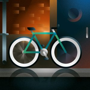 A fluorescent fixed bike parked next to a nightclub door in downtown, art print illustration by Francesco Faggiano illustrator