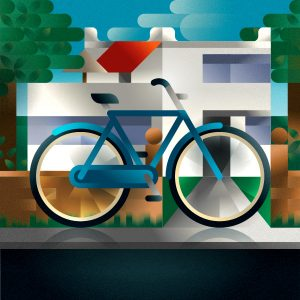 A blue man city-bike parked in front of a modern house in the countryside, art print illustration by Francesco Faggiano illustrator