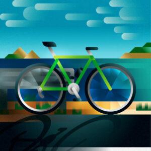 A green road bike parked along the coastal road, art print illustration by Francesco Faggiano illustrator