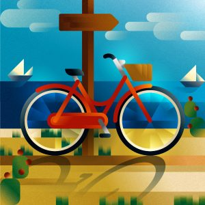 A red woman city-bike parked on the sand, art print illustration by Francesco Faggiano illustrator