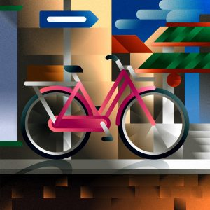 A pink freight-bike parked in chinatown, art print illustration by Francesco Faggiano illustrator