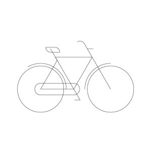 Man city-bike model outline icon, illustration by francesco faggiano illustrator