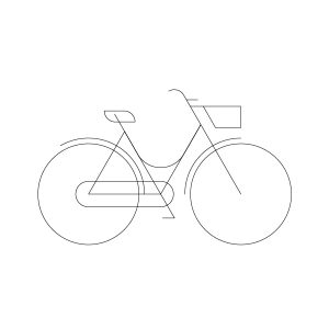 Woman city-bike model outline icon, illustration by francesco faggiano illustrator