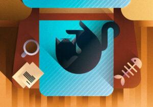 Black cat sleeping on an azure sofa seen from the top, art print illustration by Francesco Faggiano illustrator