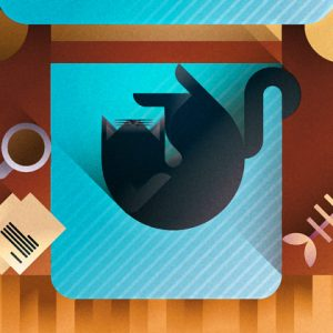 Black cat sleeping on an azure sofa seen from the top, art print illustration by Francesco Faggiano illustrator