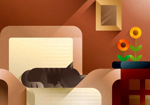 Tabby cat sleeping on a beige sofa, art print illustration by Francesco Faggiano illustrator