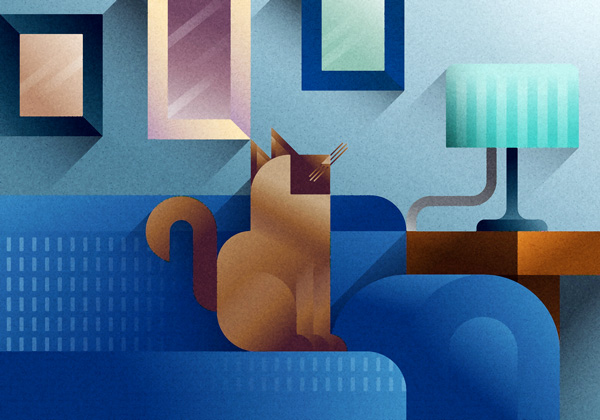 Siamese thai cat standing on a blue sofa, art print illustration by Francesco Faggiano illustrator