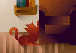 Red cat scratching on a leather brown sofa, art print illustration by Francesco Faggiano illustrator