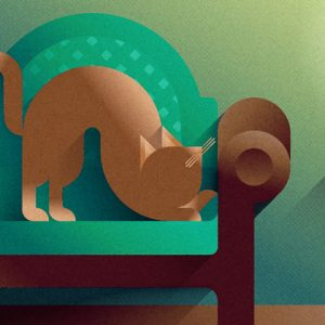 Brown cat stretching on a green sofa, art print illustration by Francesco Faggiano illustrator