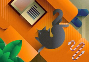 Brown cat stretching on an orange sofa seen from the top, art print illustration by Francesco Faggiano illustrator